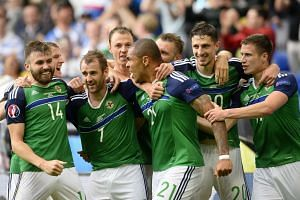 Northern Ireland players celebrate after Niall McGinn (third left) scored the 2-0 goal.