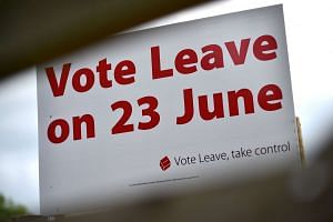 A sign by the roadside near Tunbridge Wells  in Britain, urging people to vote for Brexit in the upcoming EU referendum.