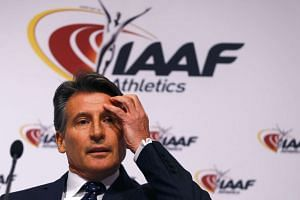 IAAF president Sebastian Coe attends a news conference after the council meeting.
