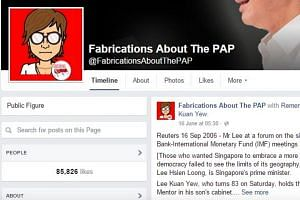 A screengrab of the Fabrications About The PAP's Facebook page.