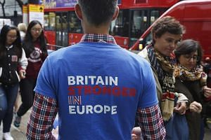 A supporter of the Britain Stronger IN Europe campaigns in the lead up to the EU referendum at Holborn in London, Britain on June 20.