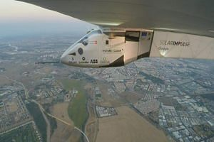 A handout photo shows Solar Impulse 2 approaching Spain early on Thursday (June 23).
