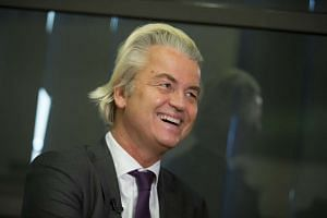 Geert Wilders, leader of the Freedom Party, reacts during an interview in The Hague, Netherlands.