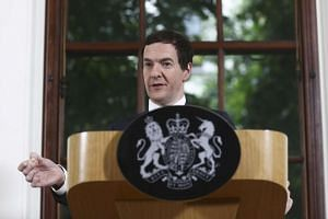 Finance Minister George Osborne speaking at a news conference on Monday (June 27).