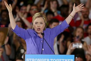 Democratic US presidential candidate Hillary Clinton speaking at a campaign rally in Cincinnati, Ohio, on June 27.