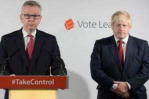 British Justice Secretary Michael Gove (left) and Boris Johnson at a press conference in central London, on June 24, 2016.