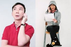 Comedian Hossan Leong plays both victim and scammer in the police's new video to warn the public about phone scams.
