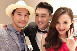 Taiwanese actors Sphinx Ting (left), Ken Chu and Chinese actress Han Wen Wen at Chu and Han's wedding dinner in Taipei on July 1, 2016.