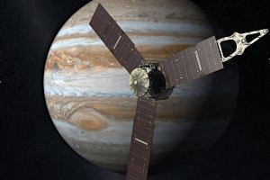 An artist's rendering of Juno with Jupiter in the background.