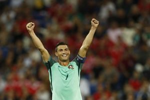 Portugal's Cristiano Ronaldo celebrates at the end of the game.
