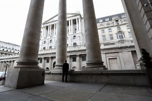 The Bank of England (BOE) stands, ahead of the bank's financial stability report news conference.