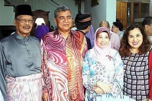 (From left) Apandi, Khalid, his wife Puan Sri Imran Ibrahim and Apandi's wife Puan Sri Faridah Begum at the Hari Raya Aidilfitri open house of Attorney-General Tan Sri Mohamed Apandi Ali.