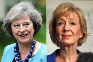 Mrs Andrea Leadsom (right) is a mother of three while Mrs Theresa May, the favourite to succeed Mr David Cameron as Conservative Party leader and PM, is childless.