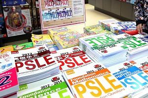 PSLE books on display at a Popular book store in 2015.