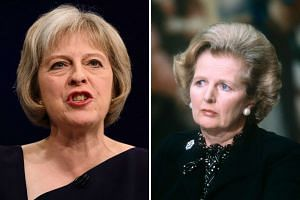 The new leader of Britain's Conservative Party and future British Prime Minister Theresa May (left) and former British Prime Minister Margaret Thatcher.