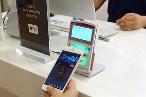 Apple Pay's mobile payment system uses wireless near-field communication technology to transmit data between a mobile device and a contactless payment reader.