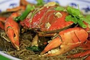 Crab braised with bee hoon from New Ubin Seafood at Sin Ming Road.