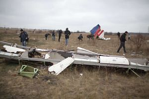 Journalists look at parts of the Malaysia Airlines plane of flight MH17 at the crash site near the Grabove village in eastern Ukraine, on Nov 11, 2014.