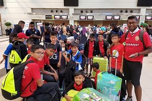 The F-17 Academy group at Antalya Airport yesterday. They are on their way to Sweden for the Gothia Cup.