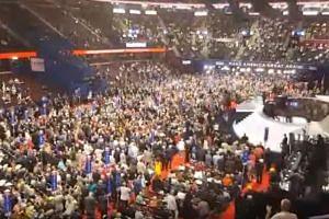 Chaos broke out on the floor of the Republican National Convention in Cleveland when party leaders moved to pass a resolution that would put in force rules binding delegates to Mr Trump.