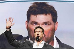 Former US Navy Seal Marcus Luttrell speaks at the Republican National Convention in Cleveland on July 18.
