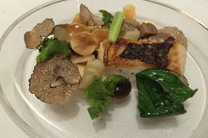 Kushihiro flounder from Odette restaurant at National Gallery Singapore.