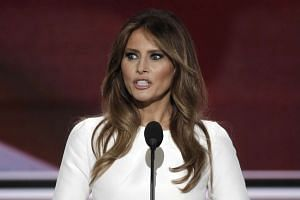 Melania Trumpdelivering her speech at the Republican National Convention in Cleveland, Ohio, on July 18, 2016.