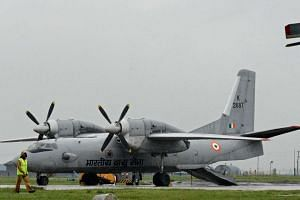 An Indian air force AN-32 transport aircraft at an air force base in Srinagar, on Sept 6, 2014.