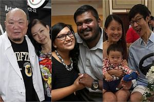 (From left) Mr Benny Se Teo and Ms Chan Mei Kam; Mr Hariharaan Malikaffure and Ms Shamini Thilarajah- Hariharaan and; Mr Kiat Ng and Ms Catherine Tan with their one-year-old son.