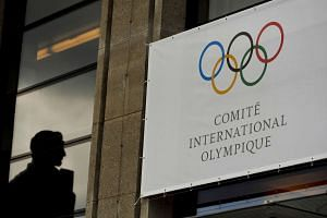 The Olympic Committee (IOC) logo is seen after an IOC Session in Lausanne.