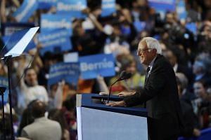 Former Democratic presidential candidate and US Senator Bernie Sanders cheered by supporters at the Democratic National Convention in Philadelphia on July 25.