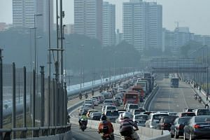 The early morning peak hour jam going towards the Singapore side of the Causeway at the Woodlands checkpoint.