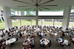 Students at the self-study area of National University of Singapore.