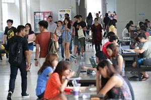 Students at the premises of Nanyang Technological University.