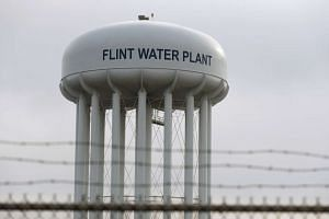 The top of the Flint Water Plant tower is seen in Flint, Michigan, on Feb 7, 2016.