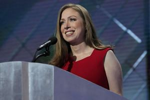 Chelsea Clinton introduces her mother Hillary Clinton to accept the Democratic presidential nomination on the final night at the Democratic National Convention in Philadelphia, Pennsylvania, on July 28.