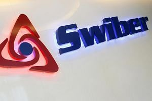 A Swiber logo at their office in Singapore on July 10, 2013.