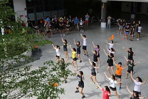 NUS students taking part in NUS Rag and Flag day practices. The event is allowed to continue after the suspension of NUS Orientation Week.