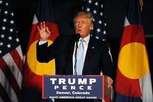 Republican President candidate Donald Trump addresses supporters in Denver, Colorado on July 29.