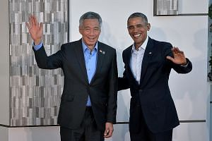 PM Lee and Mr Obama in a photo taken at the US-Asean summit held in California on Feb 15. PM Lee arrived in Washington, DC yesterday to begin his official visit to the US and will be hosted by the US President to a state dinner at the White House tom