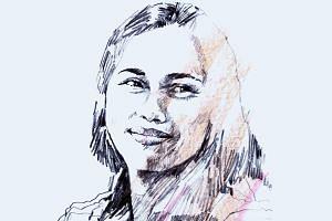A portrait illustration of Filipino weightlifter, Hidilyn Diaz.