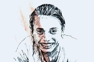 A portrait illustration of Indonesian jumper, Maria Natalia Londa.