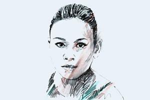 A portrait illustration of Malaysian diver Pandelela Rinong.