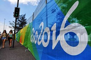 The security fence surround a cycling venue in Rio de Janeiro on August 1, ahead of the Rio 2016 Olympic Games.