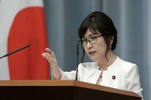 Japan's newly appointed Defense Minister Tomomi Inada speaking at a news conference in Tokyo on Aug 3, 2016.