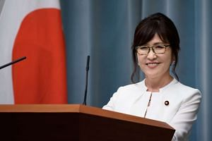 Tomomi Inada, newly appointed defense minister of Japan, at a press conference in Tokyo, Japan, on August 3.