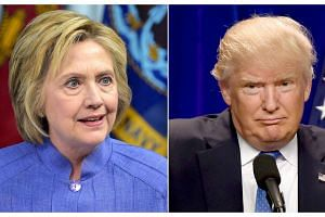 Democratic presidential nominee Hillary Clinton's (left) lead over Republican rival Donald Trump narrowed to less than 3 percentage points, according to a Reuters/Ipsos opinion poll.