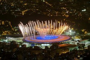 Fireworks during a rehearsal of the Games opening ceremony in Rio de Janeiro on Wednesday. It is understood that the new deal, inked ahead of this morning's opening ceremony, will allow Mediacorp to get five of Dentsu's 12 feeds, including coverage o