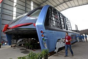 A Transit Elevated Bus parked in a garage in Qinhuangdao City, Hebei Province, China on Aug 3, 2016.