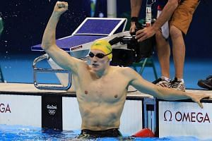 Mack Horton of Australia reacts after winning the gold medal.